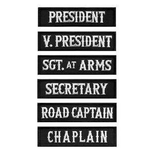 Officer Title Rank Vest Patches President VP Chaplain MC Biker Patch (6pc B/W)