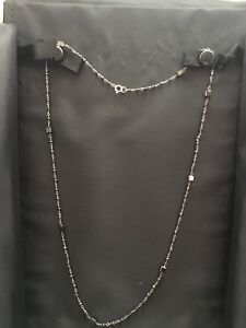 Luna Felix Black Diamond  White Gold  Dainty 19 Inch Necklace . Euc