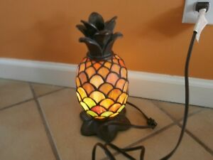 Rare Vintage Tiffany Style STAIN GLASS Coconut Night Light