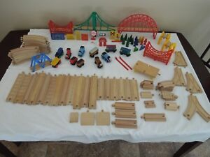 Lot Wooden Thomas the Train Tracks Bridges Cars Signs People 110 Total Pieces