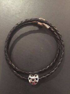 Pandora Black Double Leather Bracelet Starry Heart Charm 590705 791393 with Box