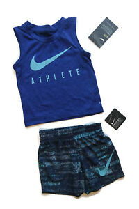 Nike Blue Outfit Dri-Fit Tank Top Shirt & Shorts Set Baby Boys 12M [a0802]