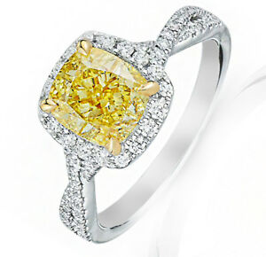 Infinity Design Ring w 5.20 ct Fancy Intense Yellow Cushion and Round Cut Di...