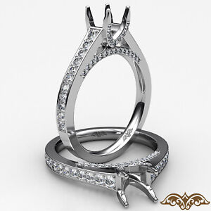 1.36ctw Pave Bridge Style Cushion Diamond Engagement Ring GIA E-VVS2 White Gold