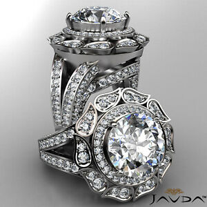 Floral Design Micro Pave Halo Round Diamond Engagement Ring GIA F VVS1 3.64 Ct