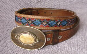 Vtg Native Amer Indian Design Beaded & Tooled Leather Belt wJasper Buckle 36-37