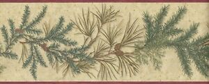 Wallpaper Border Pine Cone With Evergreen Pine Needles Conifer Red Trim on Tan