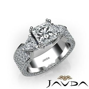 3.41ctw Hip Hop Design Princess Diamond Engagement Ring GIA F-VVS2 White Gold