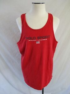 POLO SPORT vintage red spellout logo American flag tank top t-shirt XL