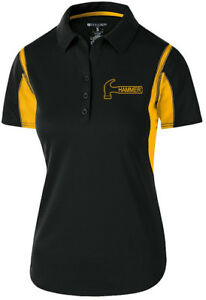 Hammer Women's Taboo Performance Polo Bowling Shirt Dri-Fit Black Yellow