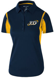 Columbia 300 Women's Nitrous Performance Polo Bowling Shirt Dri-Fit Navy Yellow
