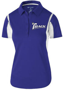 Track Women's Synergy Performance Polo Bowling Shirt Dri-Fit Purple White