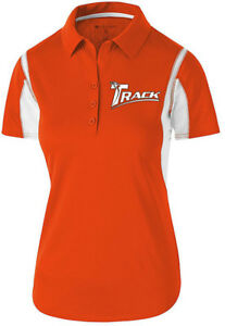 Track Women's Synergy Performance Polo Bowling Shirt Dri-Fit Orange White