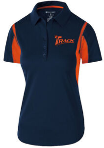 Track Women's Synergy Performance Polo Bowling Shirt Dri-Fit Navy Orange