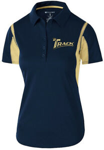 Track Women's Synergy Performance Polo Bowling Shirt Dri-Fit Navy Gold