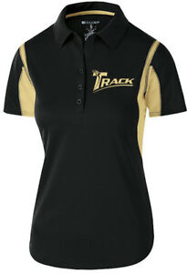 Track Women's Synergy Performance Polo Bowling Shirt Dri-Fit Black Gold