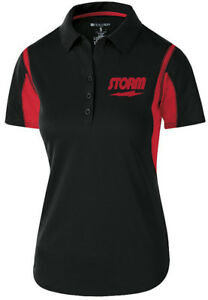 Storm Women's Match Performance Polo Bowling Shirt Dri-Fit Black Red