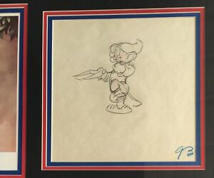 WALT DISNEY STUDIOS 1937 ORIGINAL PRODUCTION DRAWING * DOPEY * SNOW WHITE DWARFS $1,180.00