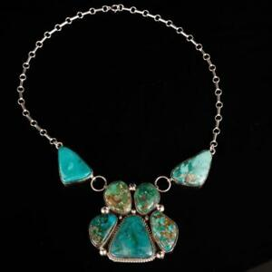 NAVAJO SQUASH BLOSSOM NECKLACE Sterling Silver Natural Turquoise Earring SET