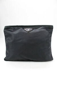Prada Medium Gray Silver Tone Accented Zip Top Clutch Pouch Handbag