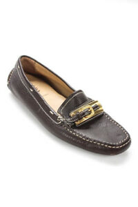 Prada Brown Leather Gold Tone Hardware Loafers Flats Size 38 US 8