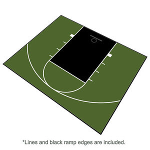 Outdoor Basketball Half Court Kit 30' X 25'-Lines and Edges Included-GreenBlack