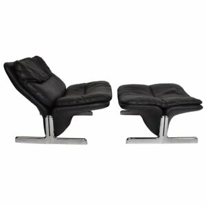 Mid-Century Modern Leather Lounge Chair and Ottoman by Ammanati