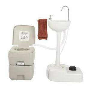 Removable Camping Sink Wash Basin + Portable Flush Toilet Outdoor Vehicle Party