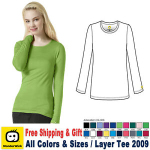 WonderWink Scrubs Layer Women#x27;s Medical Silky Long Sleeve Tee Free Shipping 2009