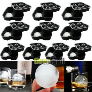 Lots Round Ice Balls Maker Tray FOUR Large Sphere Molds Cube Whiskey Cocktails