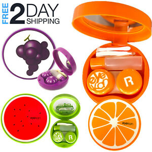 5 PCs Contact Lens Case Travel Kit Fruits Storage Box Container with Mirror $4.50
