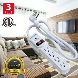 Flat Plug Extension Cord 3 Prong 4 Outlet Extender Surge Protector Power Strip $10.99