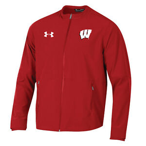 Wisconsin Badgers Under Armour Red Full Zip Storm Loose Sideline Warmup Jacket