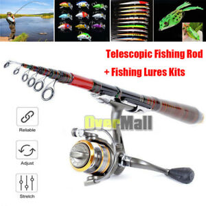 Carbon Fiber Telescopic Fishing Rod Travel Spinning Rod Pole Fishing Lures Kits