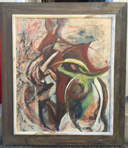Vintage Mid Century Abstract Painting Forrest Cooper Listed American Artist