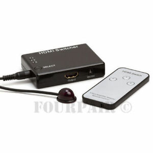 3x1 3 Port HDMI Switch Switcher Selector Hub with Remote 1080P Full HD PS4 XBOX
