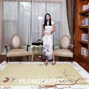 YILONG 5.5'x8' Modern Hand knotted Wool Rug Chinese Art Deco Cute Area Carpet
