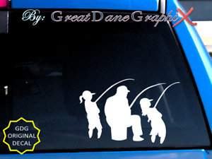 Father Children Girls Fishing Vinyl Decal Sticker Color Choice HIGH QUALITY