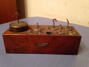 Antique Scale Weight Set In Wood Case Missing 1 Chicago Apparatus Co $59.99