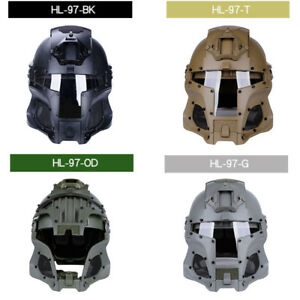 Full-covered Tactical Protective Gear CS Helmet Mask Goggle Outdoor Arm