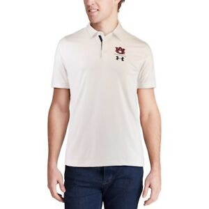 Under Armour Auburn Tigers White Playoff Vented Performance Polo