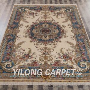 Yilong 8'x11' French Design Handmade Persian Silk Rug Valuable Home Carpet Z095A