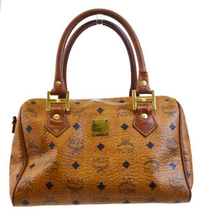 Authentic MCM Pattern Logos Hand Bag Leather Brown Gold Made In Germany 07BC733