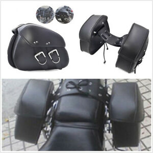 1 Pair Durable PU Leather Motorcycle ATVs Side Storage Bags Saddlebags Universal