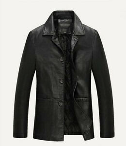 HOT Winter Mens Warm Real Leather Jacket Men Thick Jackets Coat Trench Overcoat