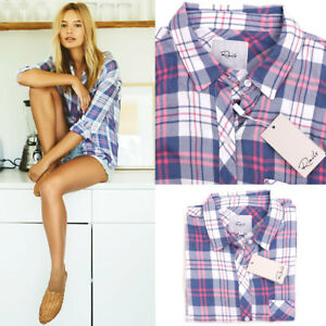 NWT Authentic Rails Hunter Long Sleeve Plaid Shirt Watermelon Coast White