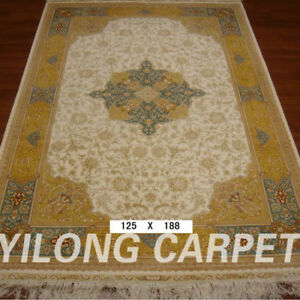 YILONG 4'x6.2' Yellow Handknotted Persian Pure Silk Carpet Durable Home Rug
