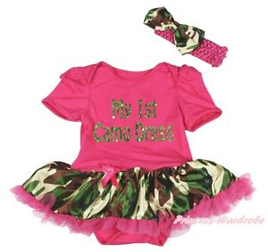 Hot Pink Bodysuit Camouflage Girls Birthday My 1ST Camo Baby Dress Outfit NB 18M