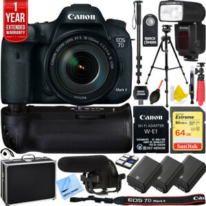Canon EOS 7D Mark II DSLR Camera 18-135mm Lens Triple Battery Pro Recording Kit