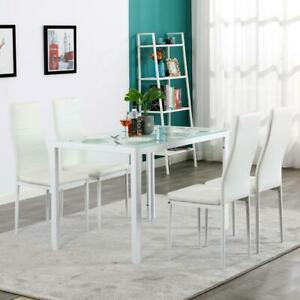 5 PIECES DINING TABLE WHITE GLASS TABLE AND 4 CHAIRS FAUX LEATHER DINNING SET $168.99